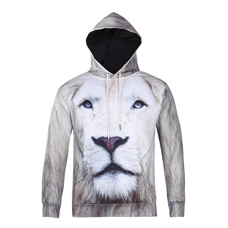 Mr.1991INC brand Creativity design 3D white lion head print lovers outfits casual unisex fashion pullovers spring sweatershirts