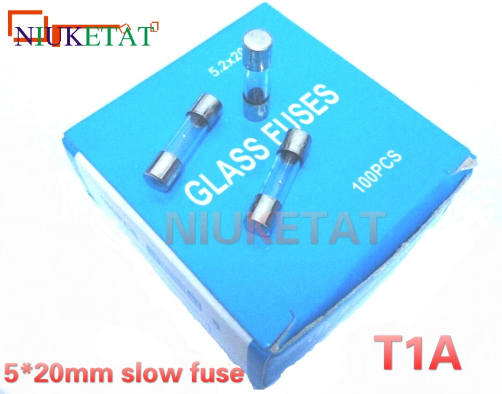100pcs/box 5*20mm 1A 250V slow fuse 5*20 T1A 1000mA 250V Glass Fuse 5mm*20mm New and original 100pcs 2sc6144 c6144to 220f new original