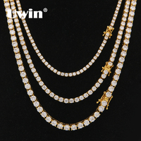Uwin 3mm 4mm 5mm Round Cut Iced Out Cubic Zirconia Tennis Link Chain Hiphop Top Quality