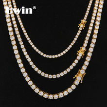 Uwin collier à fermoir en zircone cubique coupée ronde 3mm, 4mm, 5mm, chaîne à maillons de Tennis pour hommes et femmes