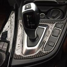 цена на Car Accessorie Real Carbon Fiber Gear Shift Control Panel Cover Sticker Interior Trim For bmw 3 4 Series 3GT F30 F31 F32 F34