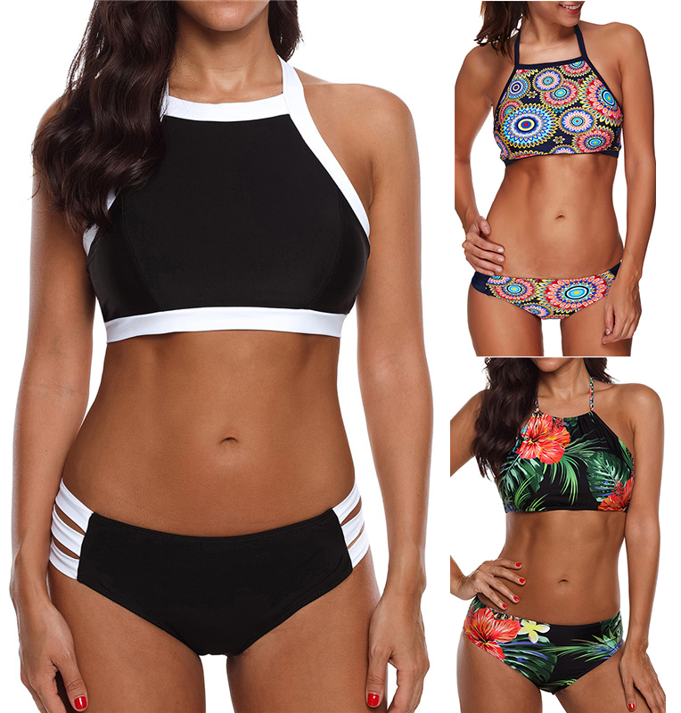 TONY Sexy Women Bikini Set Sports Swimwear Summer Beach Floral Two Piece Halter Bathing Suit High Neck Padded Bikini Plus Size
