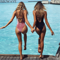 Retro Solid Color One Piece Swimsuit 2018 New Summer Swimming Backless Velvet Swimsuit Swimwear Women Bathing
