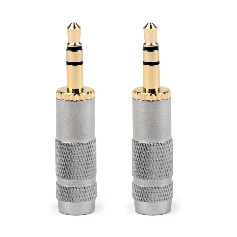 Areyourshop Sale 2PCS Gold Plated Stereo 3.5mm 3 Pole Repair Headphone Jack Plug Cable Audio Adapter 3pcs aluminum jack 3 5 audio female jack 3 5mm 4 pole stereo socket gold plated wire connector rich tech earphone diy