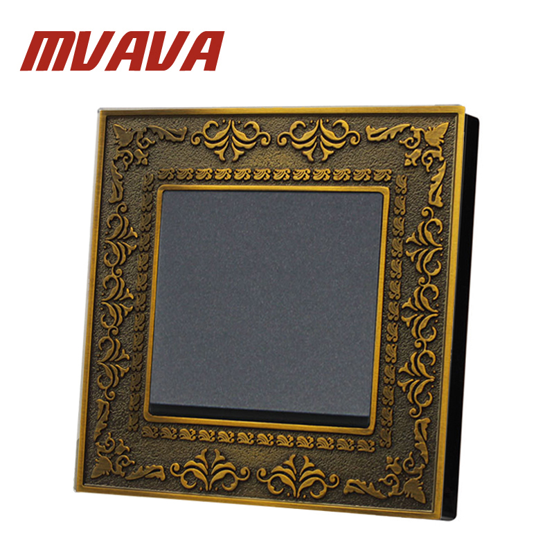 MVAVA Lace Brass Series Push Button Switch 1 Gang 2 Way 86*90MM Emboss Wall Switch 250V Light Switch 16A Electric Light Switch mvava push button light wall switch 3 gang 1 way 16a 250v luxury white crystal glass panel factory direct sale free shipping