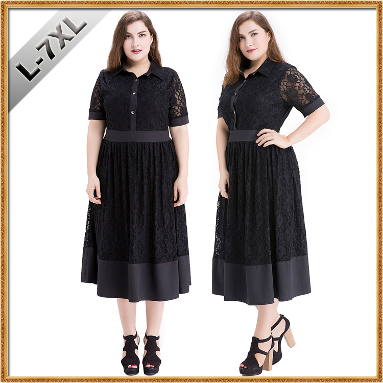 Women Lace Long Dress Plus Size Pinched Waist Casual Party Dress Longos Vestidos Big Size Female Vestidos De Festa L-7XL B-5437