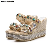 TINGHON Summer Wedge Slippers Platform High Heels Women Slipper Ladies Outside Shoes Basic Clog Wedge Slipper Flip Flop Sandals