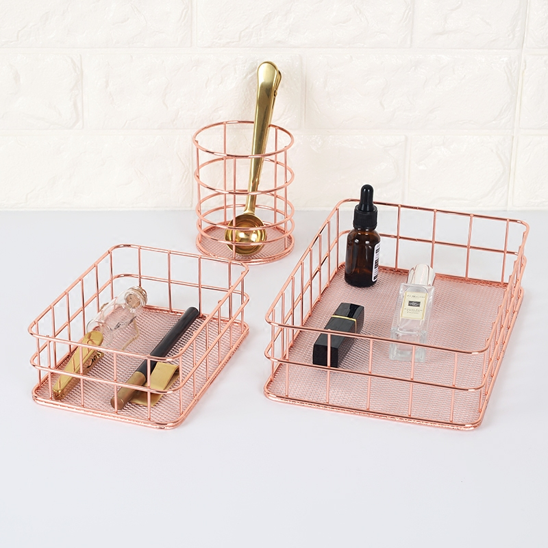Scandinavian Style Jewelry storage Baskets, cosmetic storage Basket,Rose Gold Color soccer-specific stadium