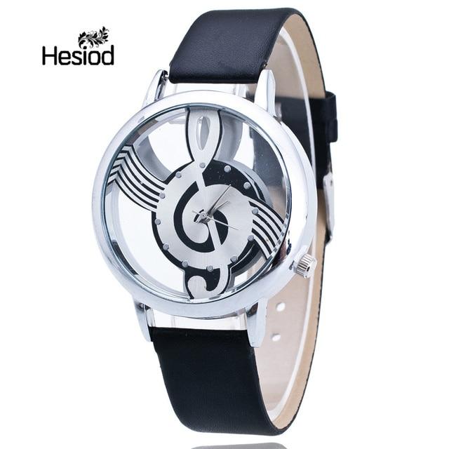 2d8966ef7ff Preto Branco Mulher de Quartzo Analógico Música Nota de Couro PU Relógio de  Pulso de Moda
