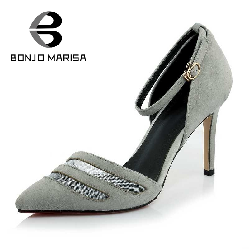 ФОТО BONJOMARISA Suede Air Mesh Women Sandals Sexy Ankle Strap High Heels Pointed Toe Less Platform Summer Party Wedding Shoes 2017