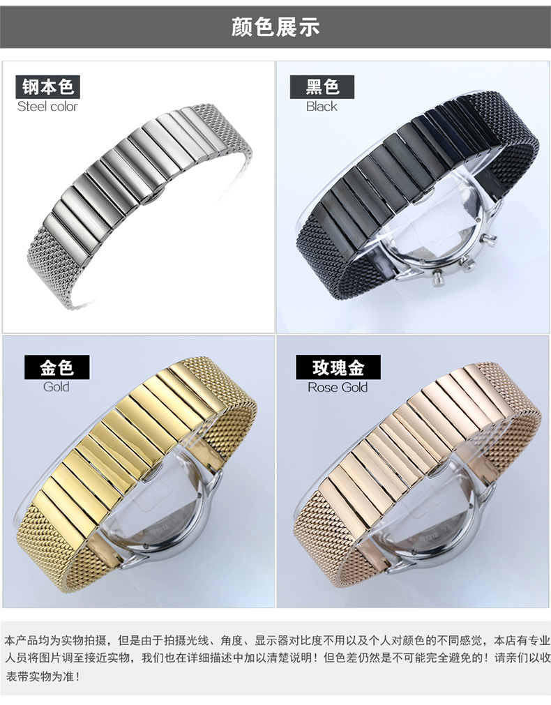 Stainless steel braided watchband Male coarse mesh steel band Milan mesh band Watch steel band accessories 18 20 22 24 mm in Watchbands from Watches