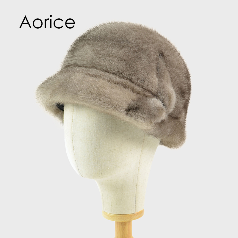 Aorice HF713 Russia Winter Hat Warm Real Mink Women Cap Fur Headdress Warm Beanies Fashion Female Caps Bucket Cap foreign trade explosion models in europe and america in winter knit hat fashion warm mink mink hat lady ear cap dhy 36