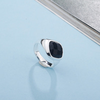 SA SILVERAGE 925 Sterling Silver Wedding Rings for Women Fine Jewelry Adjustable Black Gemstone Women Silver 925 Ring sets