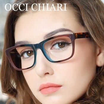 OCCI CHIARI Hoge Kwaliteit Acetaat Brillen Recept Bril Optische Glazen Clear Lenzenvloeistof Vrouw computer frame W-ZELCO