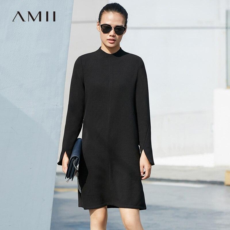 Amii Minimalist Plus Size Dresses Women Autumn 2018 Causal Solid Belt Turtleneck Straight Midi Dresses