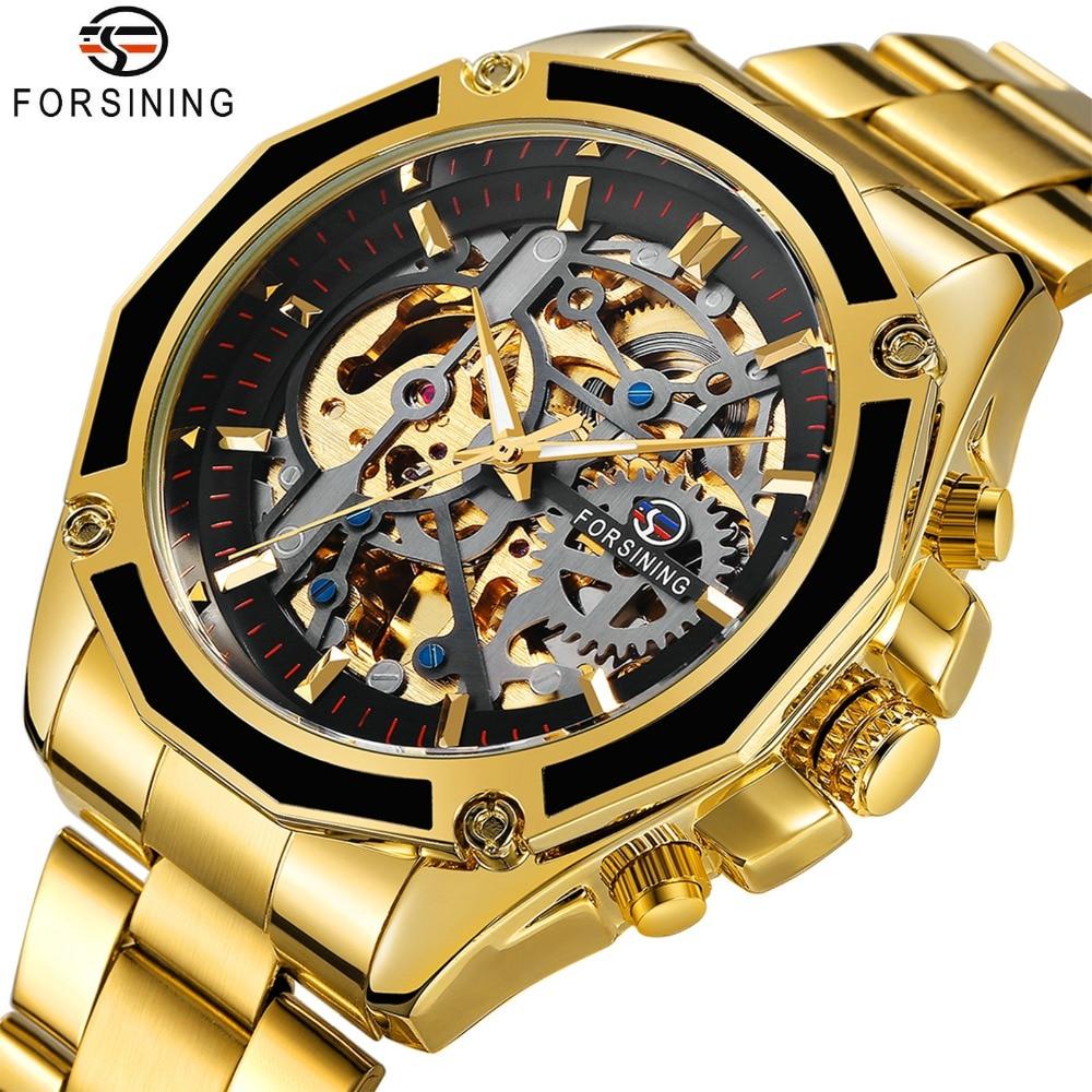 FORSINING Royal 3D Skeleton Mann Auto Mechanische Uhr TOP MARKE LUXUS Goldene Zifferblatt WINNER Herren Automatische Uhren INS Heißer Design