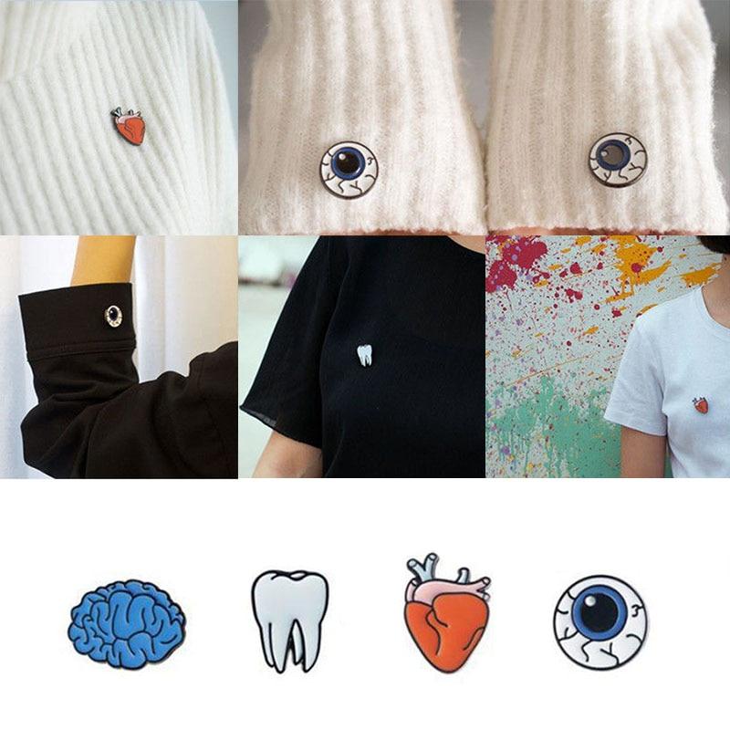 Sale 1 Pc Women Fashion Eye Heart Brain Human organs Brooch Collar Pin Jewelry Accessories 4 Styles