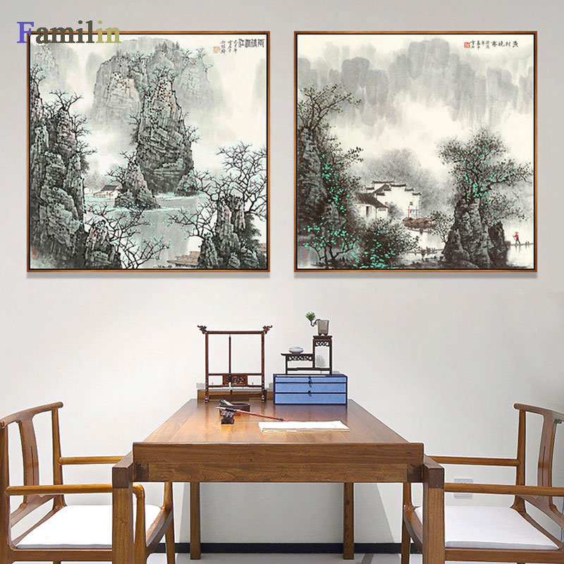 Modern Abstract Ink Painting Chinese Waterfront Landscape Mountain With water Canvas Art Poster Wall Print Picture Wall image