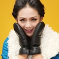 autumn winter new super warm lady leather berber fleece thickening sheepskin genuine leather gloves mittens