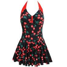 2017 Plus Size Newest Stripe Padded Halter Skirts Swimwear Women One Piece Swimsuit Beachwear Bathing suit Swimwear Dress M-4XL