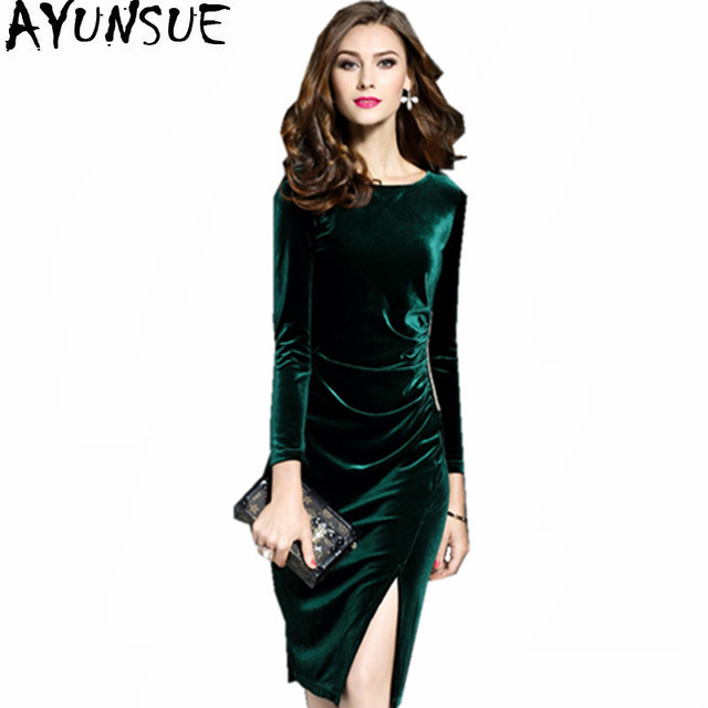 AYUNSUE Women s Green Velvet Dress Vestidos Plus Size Elegant Autumn Winter  Velour Party Dresses Women Bodycon 0c9993ad3db8