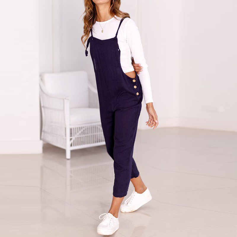 51259c4ecff Detail Feedback Questions about Women Suspender Bib Overalls 2018 Retro Female  Casual Jumpsuit Autumn High Waist Harem Pants Buttons Lady Solid Playsuit  ...