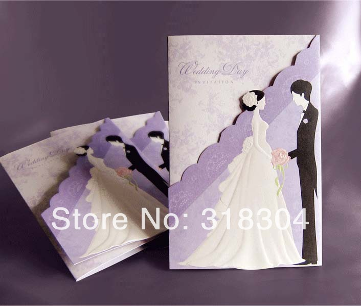 Korean Romantic Couple Wedding Invitations 2014 Purple Cards With Personalized Printing 14030801 In Party Favors From Home Garden On