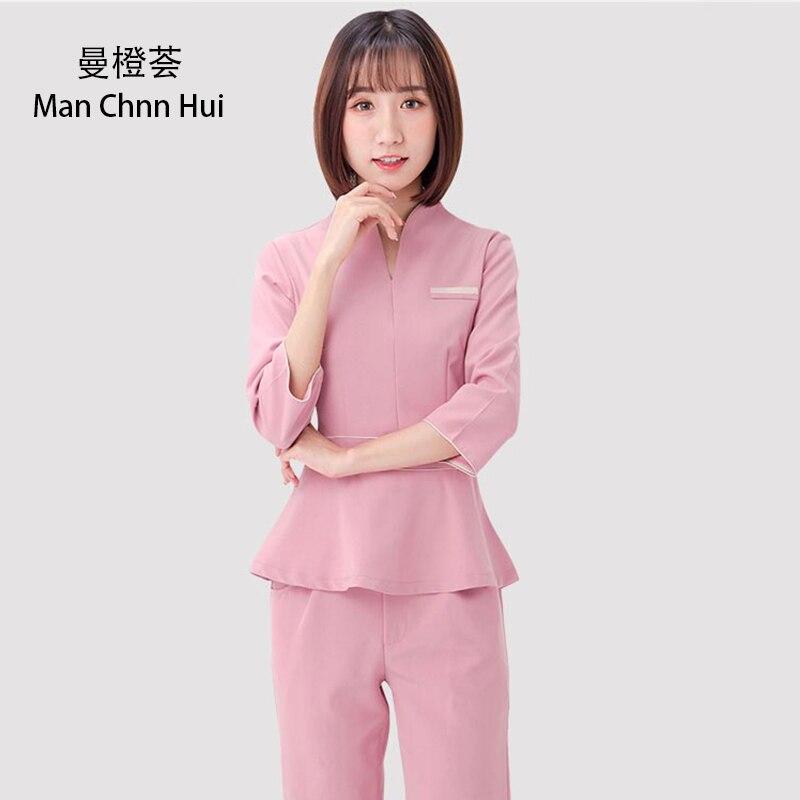 Spa Uniforms Beautician Working Clothing Tooling Technician Sauna Bath Foot Bath Massage Foot Short Sleeved Uniforms