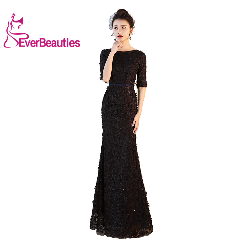 Evening Dress Long 2019 Design Princess Style Fishtail Prom Dress Lace Elegant With Appliques Robe De