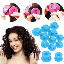 10pcs/set Soft Rubber Magic Hair Care Rollers Silicone Hair Curler No Heat Hair Styling Tool blue
