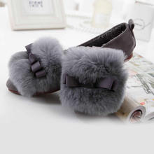 2016 Plus size 33-43 Woman Winter Flats Shoes Warm Fur Flat Heel Sweet Bowtie Comfortable Cotton Shoes Woman  Flats Shoes