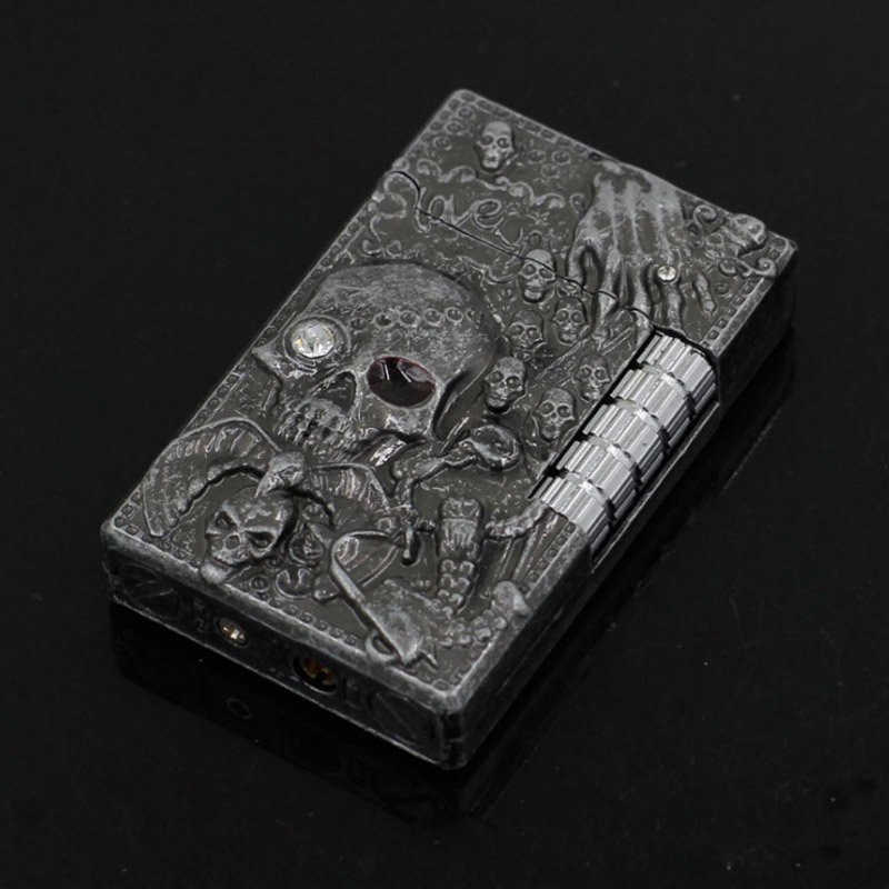 Fashion Zombie Relief Lighter Sharp PING Sound Grinding Wheel Cigarette Lighter Men Metal Gas Butane Flame Lighter Smoker Gift