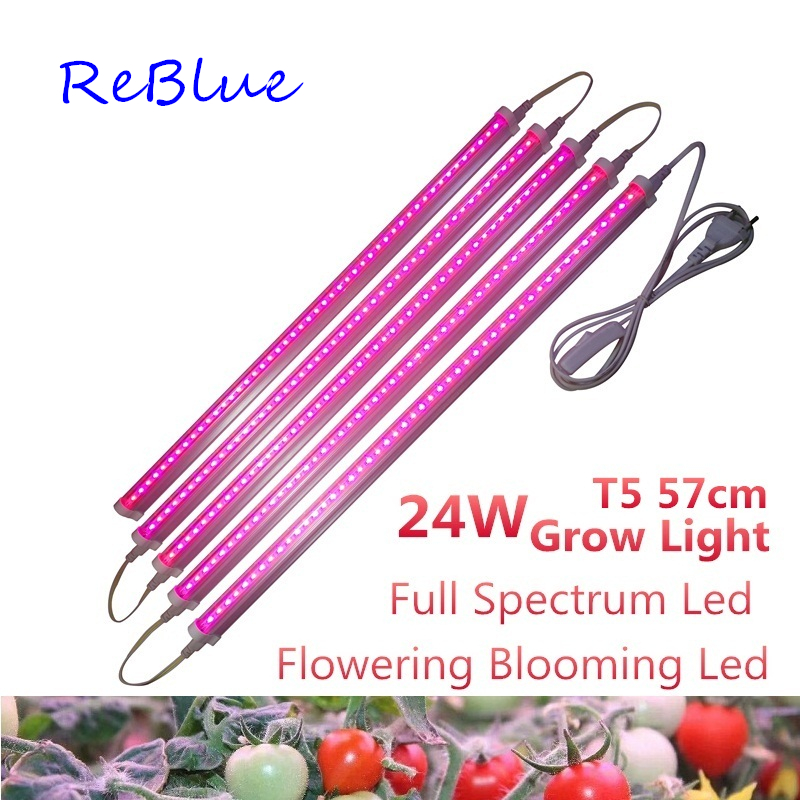 ReBlue Grow Light  Phyto Lamp 24W Plant Light Grow Led For Plants Led Grow Light Full Spectrum Growing Lamp 110V 220V Led Grow