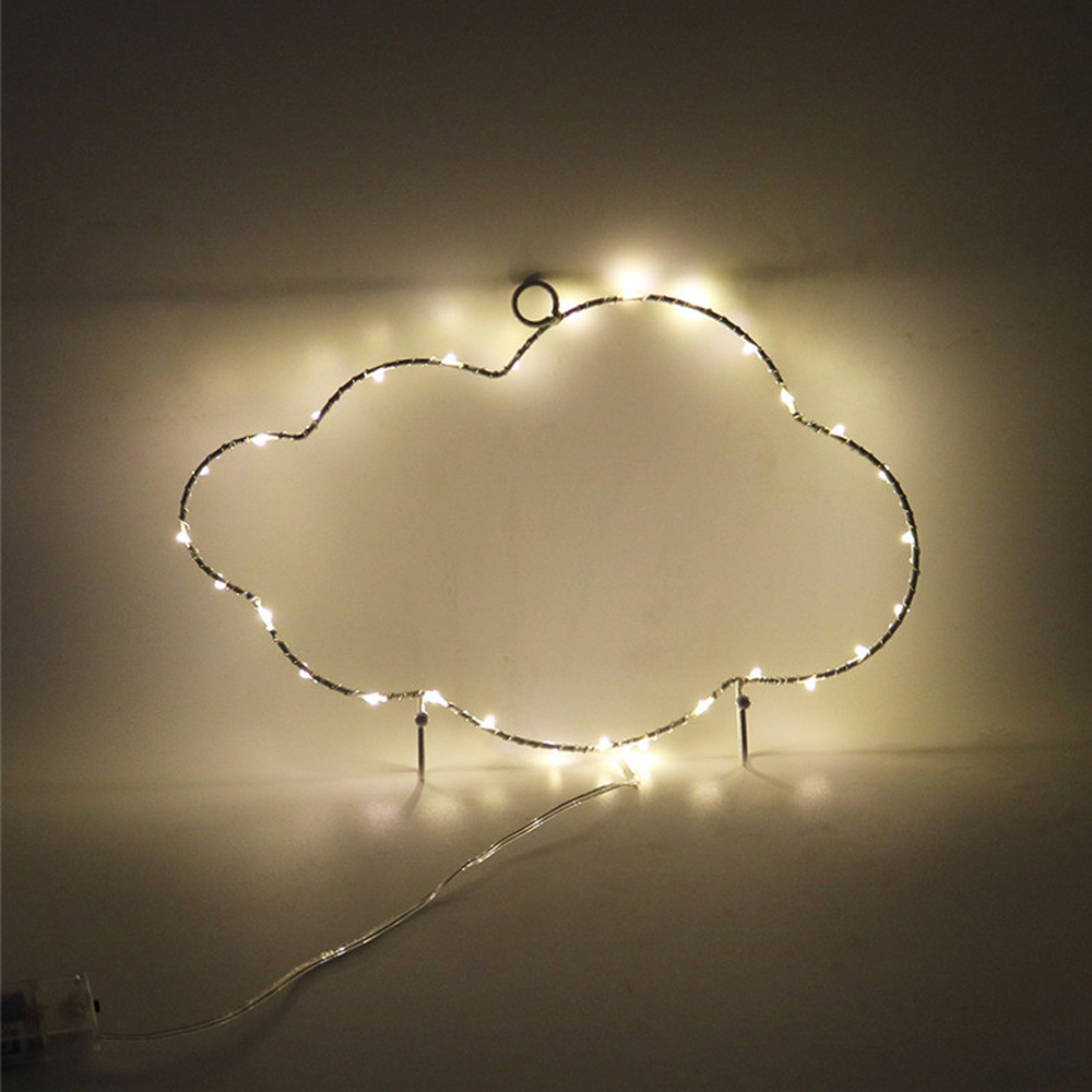 Cloud Metal Frame LED Night Light Warm White Creative Decorative Christmas Lights Holder Lamp Holiday Birthday Party Wall DecorCloud Metal Frame LED Night Light Warm White Creative Decorative Christmas Lights Holder Lamp Holiday Birthday Party Wall Decor