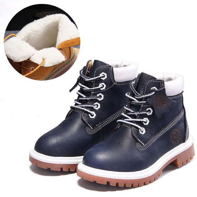 New high quality Genuine leather Boy Girl Boots 21-37 Autumn Yellow Martin boots for Boys Plush Warm Winter Shoes for girls kids