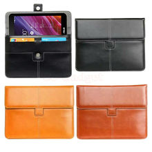 Luxury PU Leather Briefcase for Asus Memo Pad Me170CX/Me170C Me173X Me176cx Me572c Me581 Me181 Portfolio w/Credit Cards Holder