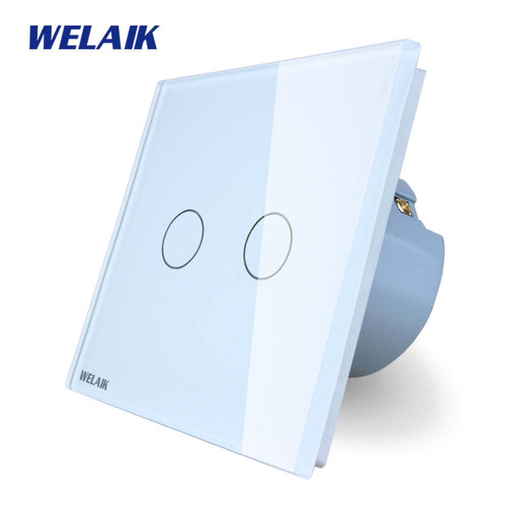 WELAIK Crystal Glass Panel Switch White Wall Switch EU Touch Switch Screen Wall Light Switch 2gang1way AC110~250V A1921CW/B 2017 smart home wall switch white crystal glass panel light touch switch 1 gang 1 way ac 110 250v 1000w for light