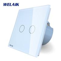 WELAIK Crystal Glass Panel Switch White Wall Switch EU Touch Switch Screen Wall Light Switch 2gang1way