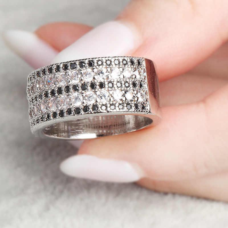 สีดำคริสตัล Zircon คริสตัลสีขาว Zircon 925 เงินสเตอร์ลิงแหวนผู้หญิงผู้ชาย Party อุปกรณ์เสริมประดิษฐ์อย่างประณีตวันเกิดของขวัญ