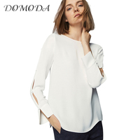 DOMODA Brand 2018 White O Neck Cut Out Sleeve Casual Shirts Women Buttons Side Split Female