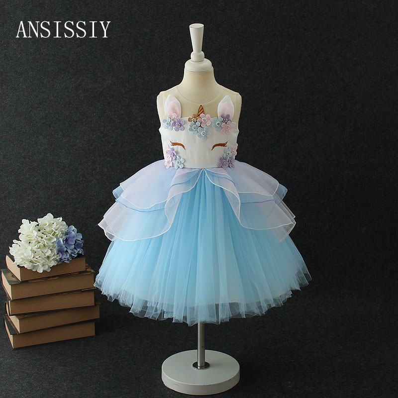 2018 New Pretty Girl Unicorn Dress Summer Sleeveless Solid Flower Mesh Tulle Party Wedding Tutu Vestido Cloth for 2 to 9 Years new summer sleeveless mini wedding