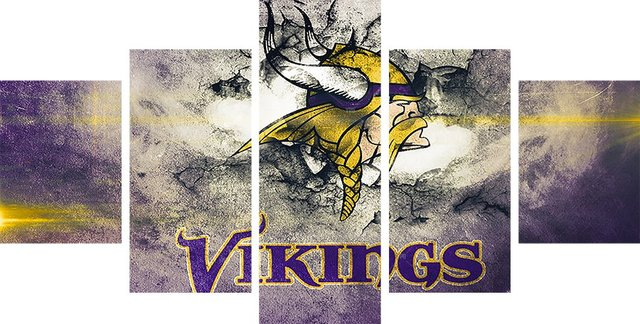 5P NFL Minnesota Vikings On Canvas Sport Painting Unique Wall Art ...