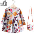 Retail 2-8years Dress+Bag/set New Cute Kids Baby Girl Summer Spring Fall Long-Sleeve Blue Perfume Bottle Princess Flower 2016