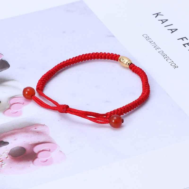 Hecho a mano chino Feng Shui Lucky hecho a mano cadena roja de Cábala ojo malvado protección pulsera con cuentas de oro de la suerte