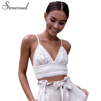 Simenual Sexy Lace Bralette Crop Top Summer Deep V Neck Vest Bras 2018 Backless Strap Bowknot