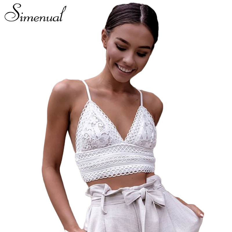 Simenual Sexy lace bralette crop top summer deep v neck vest bras 2018 backless strap bowknot sexy women camisole bralet sale