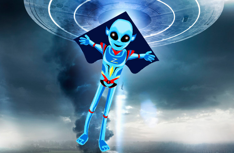 Купить с кэшбэком Professional  NEW Toys Cartoon Alien Kite For Children  With Handle and Line Good Flying
