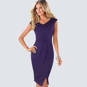 Image 4 - Винтажное офисное Деловое платье с разрезом сбоку, летнее элегантное лоскутное обтягивающее облегающее платье карандаш с цветочным кружевом, HB431