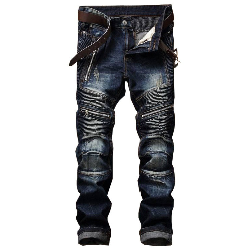 Fashion Mens Pleated High-quality Biker Jeans Pants Slim Fit Motocycle Denim Trousers For Male Straight Washed Multi Zipper