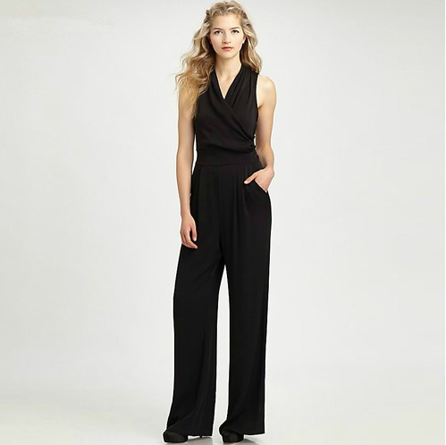 8a758aaa38f3 D256 Summer Sleeveless with Pocket Long Pants Chiffon Women Girl Business  Jumpsuits Rompers Overalls Romper Free Shipping on Aliexpress.com
